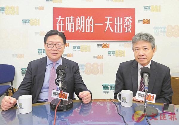 ■馬時亨(左)和張仁良昨日出席電台節目。