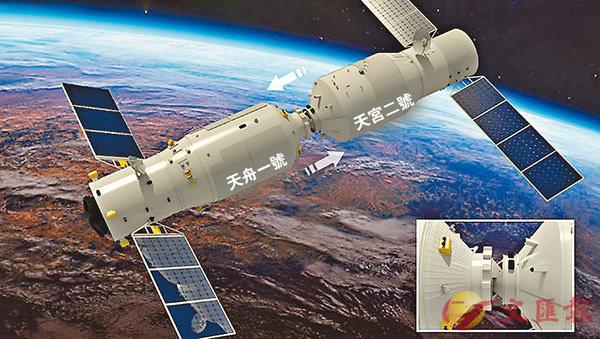 ■「天舟一號」貨運飛船12日晚上11時58分順利完成與「天宮二號」太空實驗室的自主快速交會對接試驗,準備時間從2天縮短至6.5小時。 網上圖片
