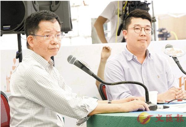 ■何漢權(左)及劉國勳指出「港獨」違法,已不在言論自由的範圍內。香港文匯報記者彭子文  攝