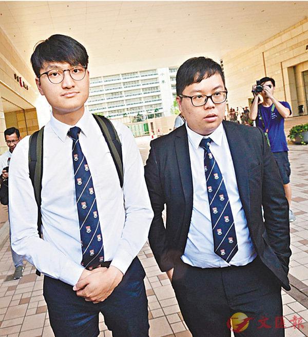 ■馮敬恩(左)和李峰琦昨到法院接受判刑。