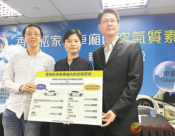■賴嘉雯(中)、何志謙(右)發表研究結果,揭示私車車廂空污危險性。 香港文匯報記者馮健文 攝