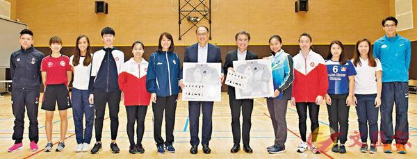 ■錢大康(右六)及香港體育學院主席林大輝(中)祝賀獎學金精英運動員。