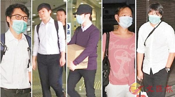 ■爆炸品案5名被告。左起:彭艾烈、胡啟賦、文廷洛、陳耀成以及鄭偉成。    資料圖片