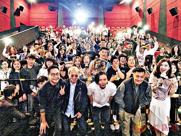 ■監製黃柏高、導演李子俊、男主角張晉和余文樂齊集廣州宣傳新戲。
