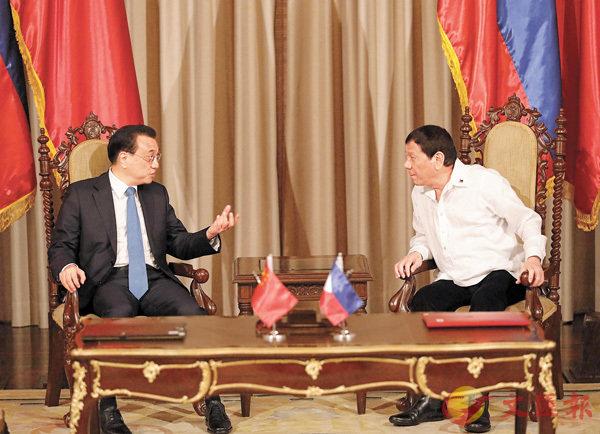 ■中國國務院總理李克強15日在馬尼拉總統府同菲律賓總統杜特爾特舉行會談。 法新社