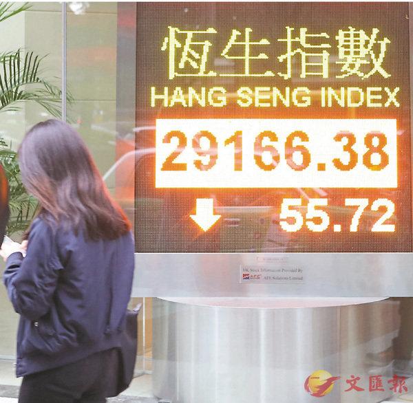 ■�瓻�昨一度升145點,收市倒跌,成交額約1,070億元。 中通社