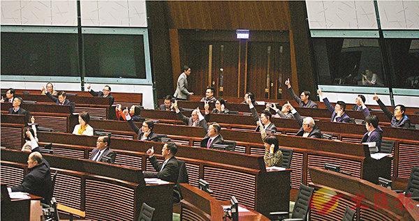 ■議案獲通過後,多位建制派議員舉起大拇指,示意「打勝仗」。香港文匯報記者劉國權  攝