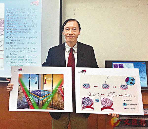 ■ 朱劍豪利用光學納米離子特質研究新技術治療癌症及節能。 香港文匯報記者唐嘉瑤 攝