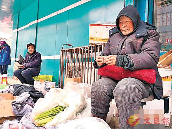 ■甘肅省白銀市白銀區,75歲的老人張菊芳蜷坐在街頭賣菜,為病逝的兒子還債。 網上圖片