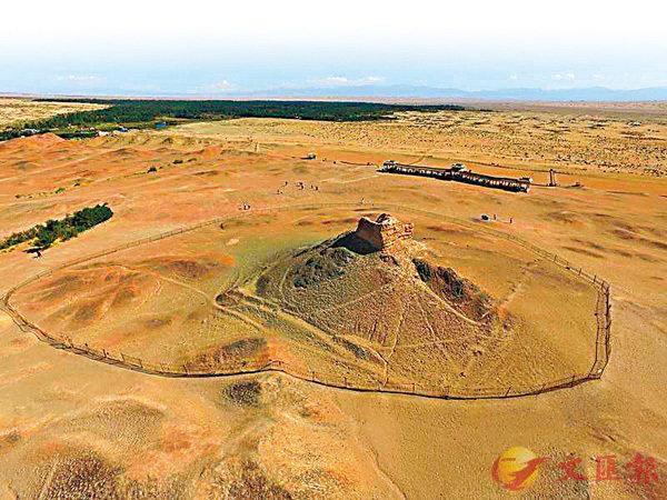 ■陽關是古代中國交通要塞,但實址位置卻一直存有爭議。圖為航拍的「陽關遺址」,但具體位置尚待查證。 網上圖片