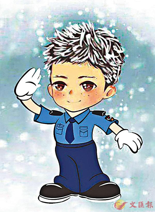 ■「冰花男孩」王福滿成為網絡紅人後,積極樂觀的心態溫暖了眾人的心。圖為中國人民公安大學官方微博上的漫畫形象。網上圖片