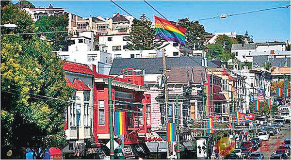 ■Castro District到處飄�荓m虹旗,宣揚多元性別,深受旅客歡迎。 網上圖片