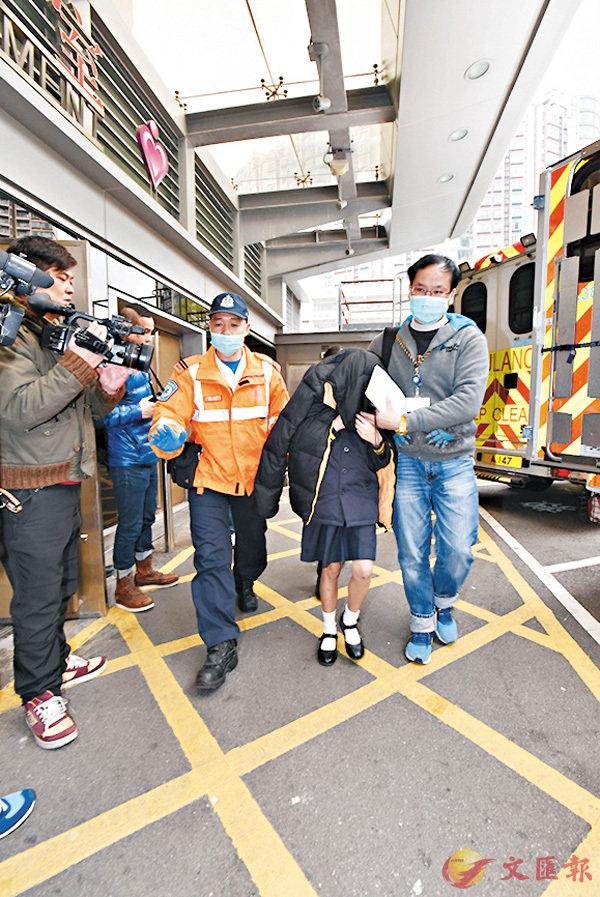 ■凍得直打冷震的11歲女學生須送院檢查。