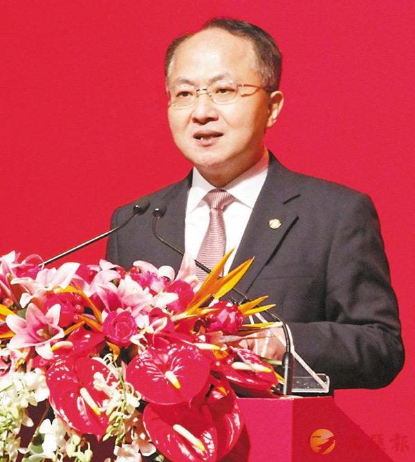 ■中聯辦主任王志民在酒會上致辭。 香港文匯報記者曾慶威 攝