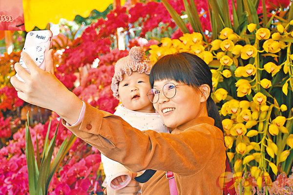■新春前夕,一位媽媽抱�蚅_寶在廣州迎春花市自拍,一臉幸福。 新華社