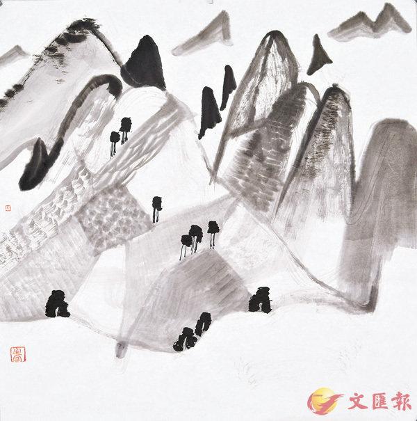 ■山境之山遠雲平過,化建國,2015年,紙本水墨,39cm×40cm