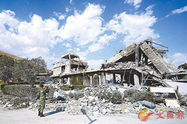 ■敘利亞一個化武研究中心被炸成廢墟。 美聯社
