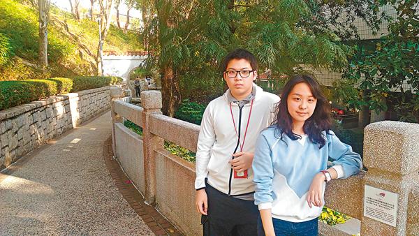 ■Christopher(左)與Feline(右)均是獲「一帶一路」獎學金資助的城大學生。 香港文匯報記者姜嘉軒  攝