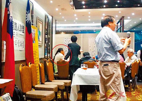 ■4月29日,戴耀廷(紅圈所指)出席一個親台組織的晚餐會,推銷「風雲計劃」。