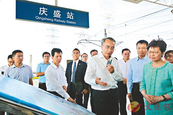 ■林鄭月娥走訪南沙慶盛高鐵站。香港文匯報記者胡若璋 攝