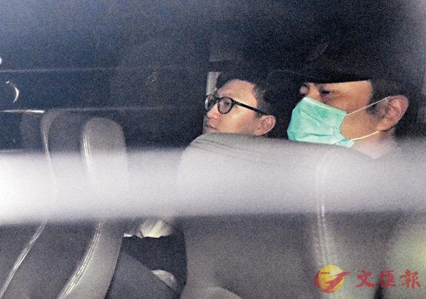 ■梁天琦(左)於上周五由囚車載離高院還柙候判。 資料圖片