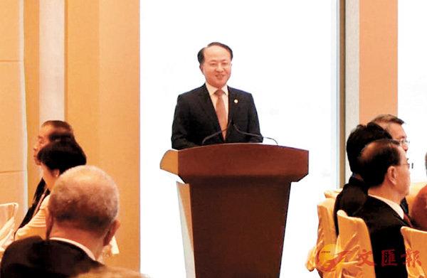 ■王志民昨日在餐敘座談時致辭。中聯辦網站