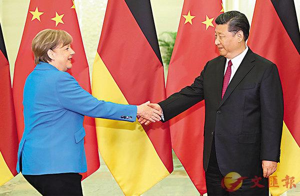 ■ 中國國家主席習近平昨日在北京人民大會堂與德國總理默克爾舉行會晤。中新社