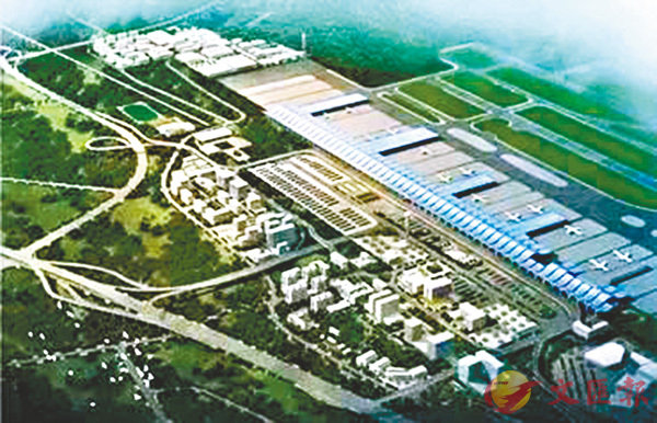 ■全球第四個、亞洲第一個航空貨運專用機場將在湖北鄂州建成。圖為鄂州貨運機場效果圖。 網上圖片