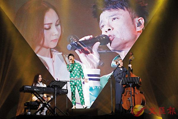 ■左起:AGA、李克勤與周國賢前晚合作演出。