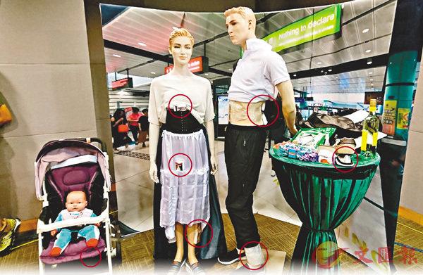 ■ 不法分子將香煙或毒品放在身上或鞋底,或以嬰兒車偷運入境(見紅圈)。香港文匯報記者顏晉傑  攝