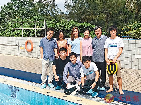 ■Andreas Widy(前排中)表示,自己在學時期已自行研發今日潛拍機的核心技術。香港文匯報記者唐嘉瑤  攝