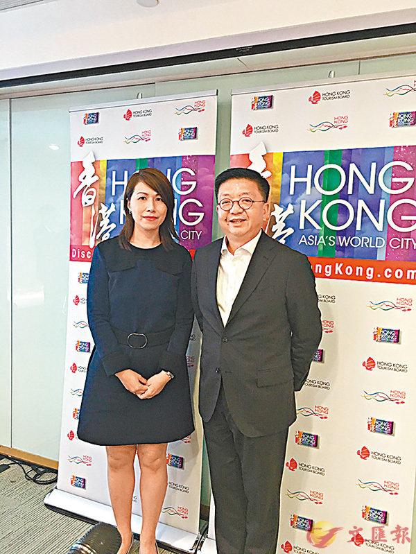 ■劉鎮漢(右)表示,本港旅遊業於今年下半年將面臨不少挑戰。 香港文匯報記者馮健文  攝