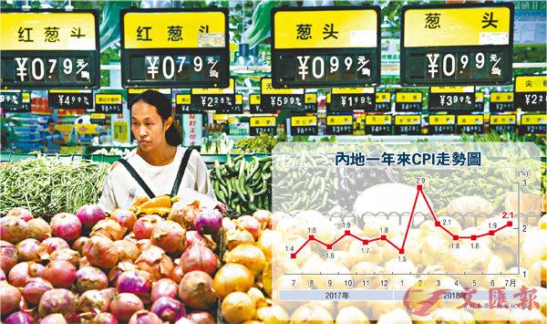 ■國家統計局發佈數據顯示,內地7月份CPI同比上漲2.1%。圖為山西太原市民在超市選購蔬菜。中新社