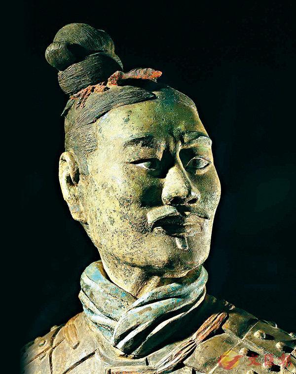 ■ 「綠臉俑」獨一無二,到目前為止僅展出過三次。香港文匯報陝西傳真