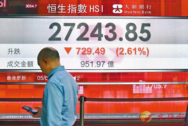 ■港股昨瀉2.6%,成交增至956億元。 中通社