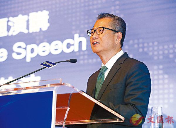 ■陳茂波表示,「一帶一路」基建每年帶來龐大的保障需求。香港文匯報記者莫雪芝  攝