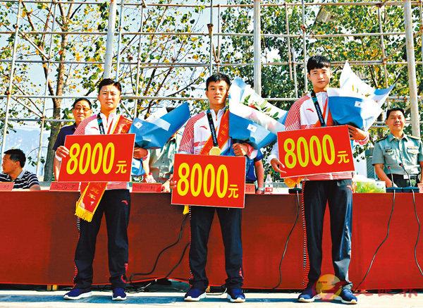 ■3位亞運散打冠軍每人獲8000元獎勵。 香港文匯報河南傳真