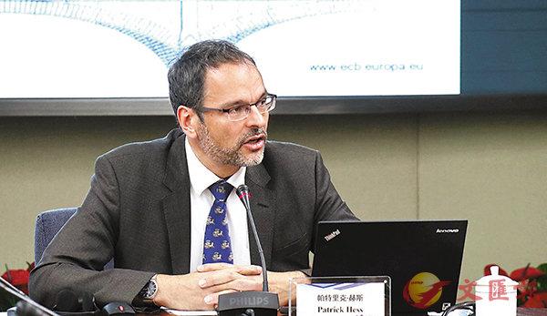 ■帕特里克表示,粵港澳大灣區在金融領域將有較大增長空間。  記者李昌鴻  攝