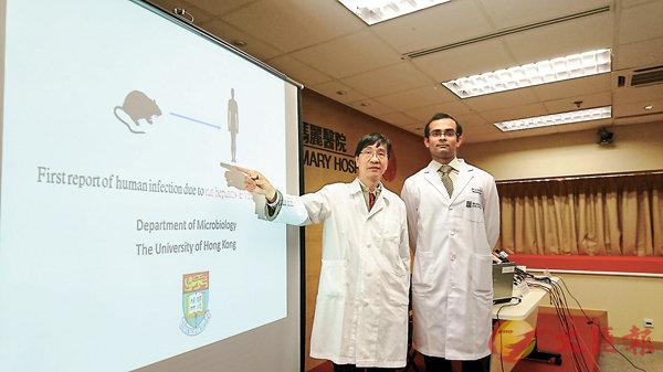 ■ 港大微生物學系教授袁國勇(左)指出,如不杜絕鼠患,香港有機會出現大規模大鼠HEV爆發。香港文匯報記者顏晉傑  攝
