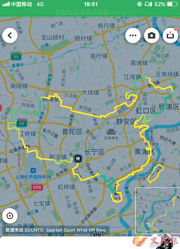 ■王林松用自己的騎行軌跡在手機軟件上「繪製」了一幅「中國地圖」。 網上圖片
