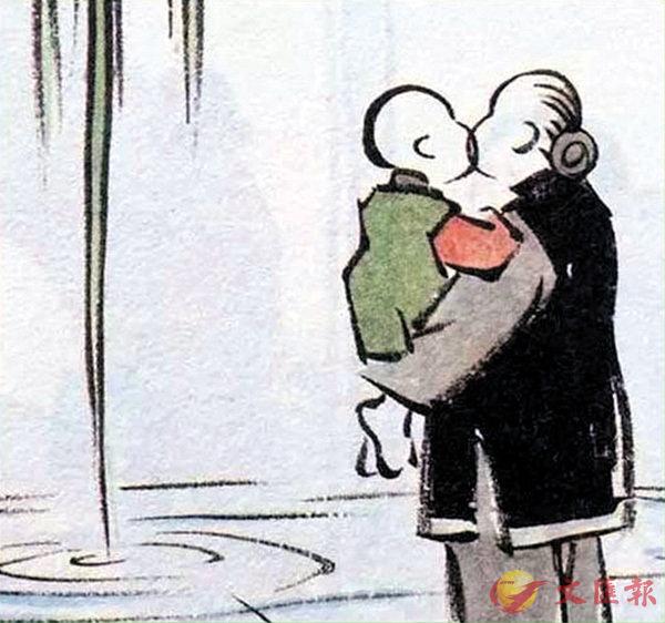 ■外婆外孫之吻,子愷畫來多傳神。  作者提供