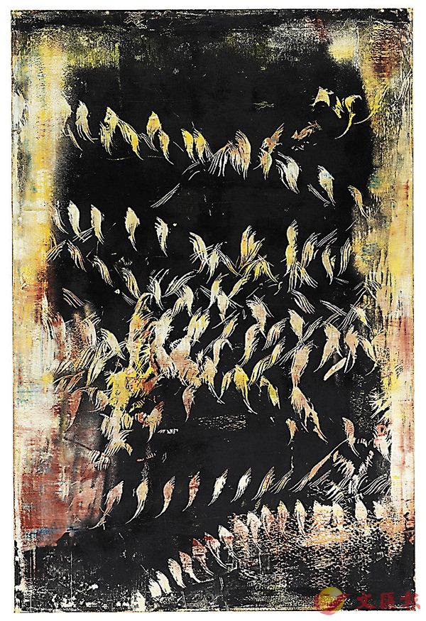 ■《鳥畫》,費爾南多.普拉茲,紙本煙熏、鳥翼拍打,195 x 130厘米,2016年,藝術家及紅門(Puerta Roja)提供
