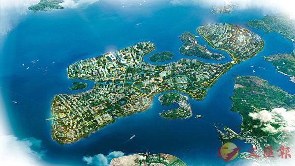 ■對東大嶼山的填海計劃,各界都有不同建議,圖為「團結香港基金」於8月7日公佈的「強化東大嶼都會」計劃的電腦效果圖。資料圖片