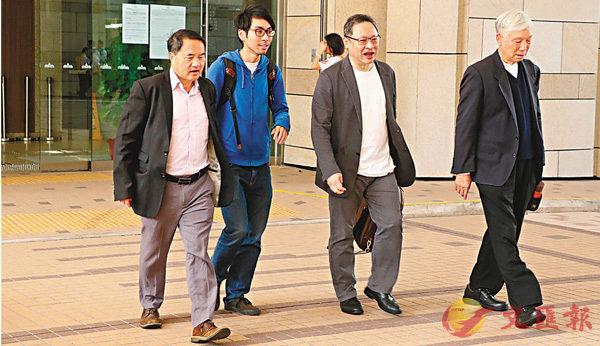 ■「佔中」案被告(左起)李永達、鍾耀華、戴耀廷及朱耀明。 香港文匯報 記者劉友光 攝