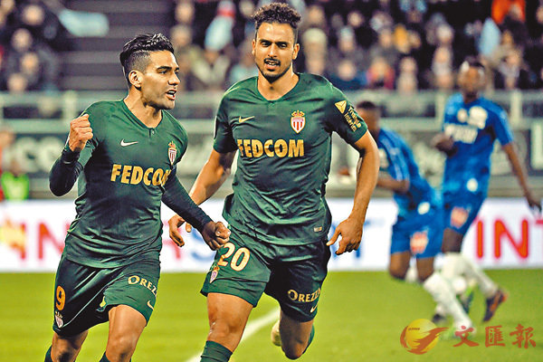 ■摩纳哥凭藉法卡奥(左)两入12码告捷。法新社