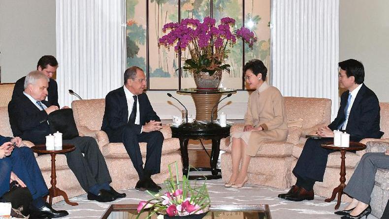 林鄭月娥與俄外長會面 推介大灣區發展機遇