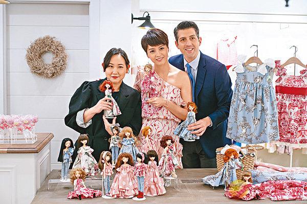 ■梁詠琪(中)與香港娃娃藝術家Ning Lau (左)聯乘推出限量版娃娃。