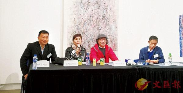 ■「四季頌」林炳深個人藝術展及東西方抽像藝術的象徵意義座談會現場,左起:林炳深、黃湘詅、林鳴崗、蔡建如。