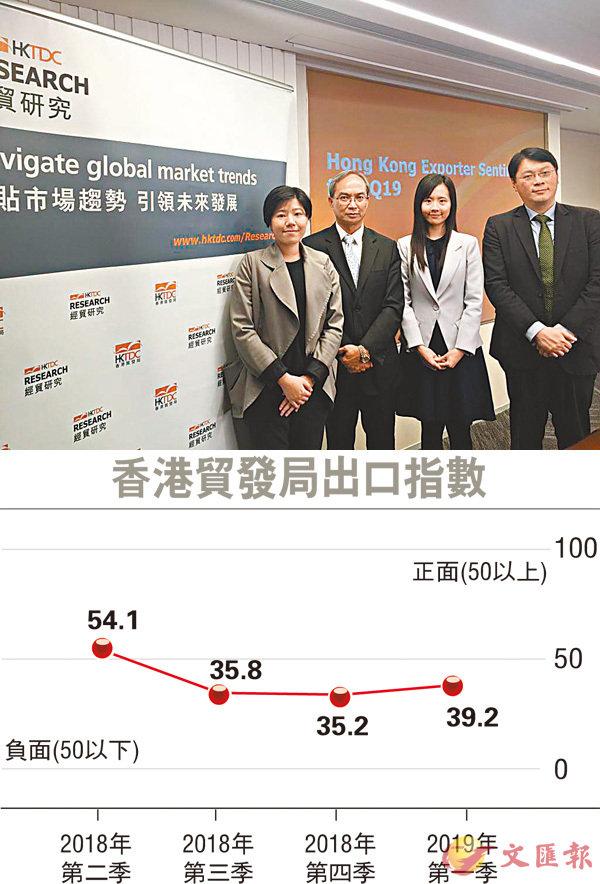 關家明(左二)料本港第2季出口指數處於50以下的機會仍大。左一為香港貿發局經濟師馮凱盈,右一為陳永健,右二為袁淑妍。 記者莊程敏  攝