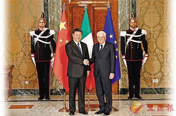 ■國家主席習近平在羅馬與意大利總統馬塔雷拉舉行會談。中新社